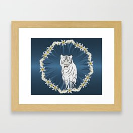 White Tiger with Orchid Grass Wreath Framed Art Print