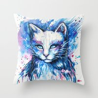 "space cat Throw Pillows featuring ""Space cat"" by PeeGeeArts"