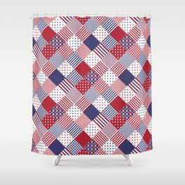 Red White & Blue Patchwork Quilt Shower Curtain