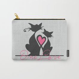 One Love Black Cats Soulmates make Heart with Tails Art Print Home Decor for Room Wall Interior Carry-All Pouch