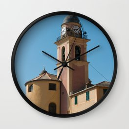 Pastel colored, yellow and pink church in Amalfi coast | Travel photography print | Italy Art Print Wall Clock