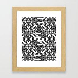 Japanese Asanoha or Star Pattern, Black and White Framed Art Print