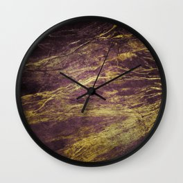 Classic Vintage Eggplant-Plum Faux Marble With Gold Veins Wall Clock