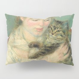 Woman with a Cat Oil Painting by Auguste Renoir Pillow Sham