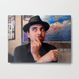 Self Portrait With Glasses and Hat Metal Print