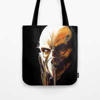 satan Tote Bags featuring Dr. Satan by Zombie Rust