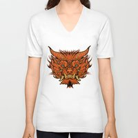 foo fighters V-neck T-shirts featuring Foo Dog by missmonster