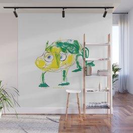 Crazy frog illustration, green frog design, frog pattern for children Wall Mural