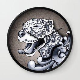 Ornamental Pit Bull - Black and Grey Filigree Pitbull Wall Clock