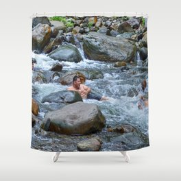 Brothers in harmony in the powerful Mameyes River - El Yunque rainforest PR Shower Curtain