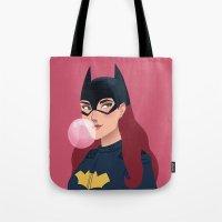 batgirl Tote Bags featuring Batgirl  by Fleur Sciortino