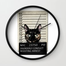 Kitty Mugshot Wall Clock