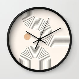 Geometric Arch Lines – Rainbow Lines, Mustard Circles, Stripes, Abstract Geometric Lines and Shapes Wall Clock