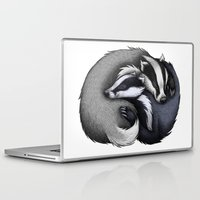 cuddle Laptop & iPad Skins featuring Badger Cuddle by Lyndsey Green Illustration
