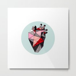 Minty Bubble Heart Metal Print