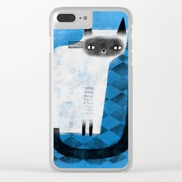 SIAMESE ON BLUE Clear iPhone Case