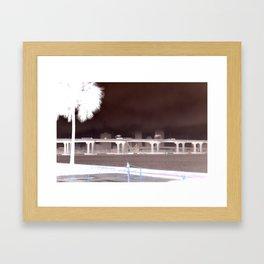 Fuller Warren bridge with palm tree and skyline on St. John's river - Jacksonville, Florida Framed Art Print