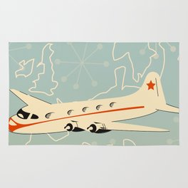 "1950s style ""by air"" travel poster print. Rug"