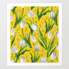 White Tulips & Baby's Breath  — Yellow Art Print