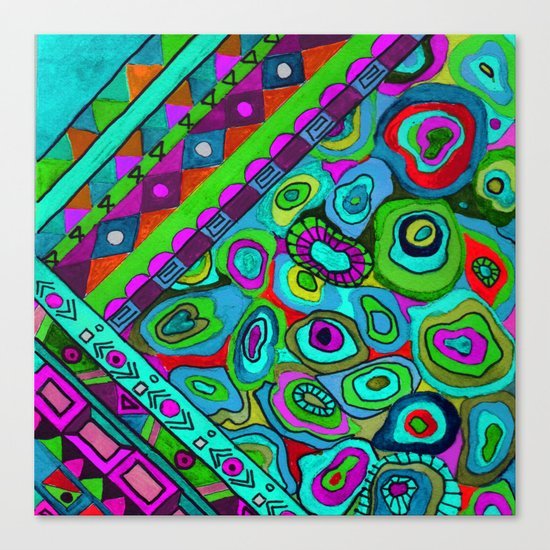 Abstract ethnic pattern in blue and turquoise tones . Canvas Print