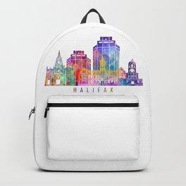 Halifax skyline landmarks in watercolor Backpack