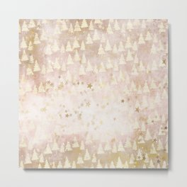 Abstract Rosegold Blush Glitter Mountain Dreamscape Pattern Metal Print