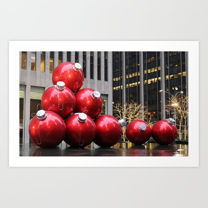 Christmas Ball Ornaments.Huge Christmas Ball Ornaments In Nyc Art Print By Stine1