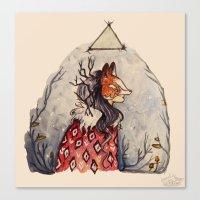 kitsune Canvas Prints featuring Kitsune by Hannah Margaret Illustrations