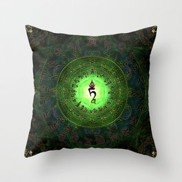 Green Tara Mantra- Protection from dangers and suffering Throw Pillow