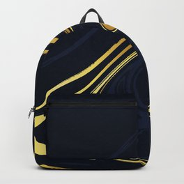 Dark Blue And Gold Marble Background Backpack