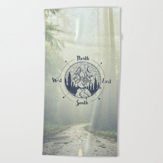 Compass Mountain Road Trip Beach Towel