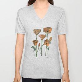 California Poppies Unisex V-Neck