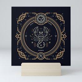 Scorpio Zodiac Golden White on Black Background Mini Art Print