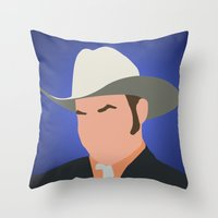anchorman Throw Pillows featuring Champ Kind - Anchorman by Tom Storrer