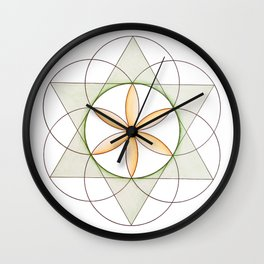 Orange Flower of Life, Sacred Geometry, Crystal Grid/Mandala Wall Clock
