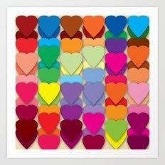 Colored Hearts Art Print