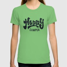 HAPPY CAMPER Black and White Retro LARGE Grass Womens Fitted Tee
