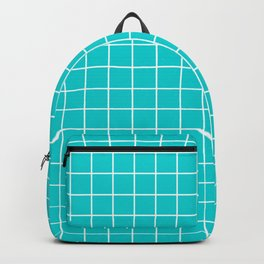Dark turquoise - blue color - White Lines Grid Pattern Backpack