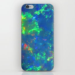 Blue geode opal iridescent holographic druse crystal quartz agate gem gemstone mineral stone photo iPhone Skin