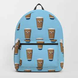 Sad disposable coffee cup pattern on blue Backpack