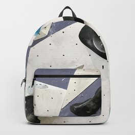 Geometric abstract free climbing bouldering holds black blue men Backpack