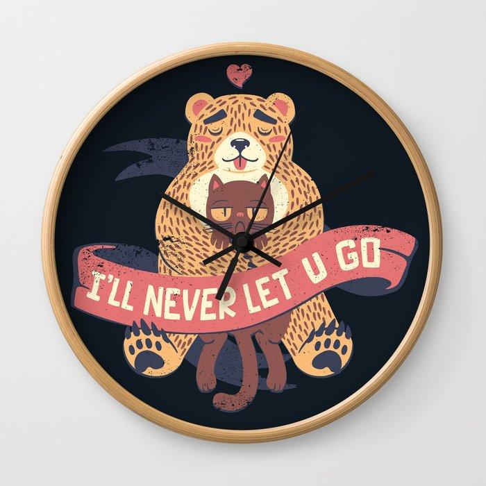 Ill Never Let You Go Bear Love Cat Wall Clock
