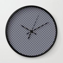 Peacoat and White Polka Dots Wall Clock