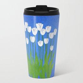 White Tulips Travel Mug