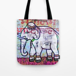 Pink elephant, colourful exotic Indian animal print Tote Bag