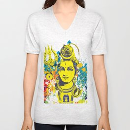 Shiv Fusion: The Resonance of Bliss – Portal to Higher Dimensions Unisex V-Neck