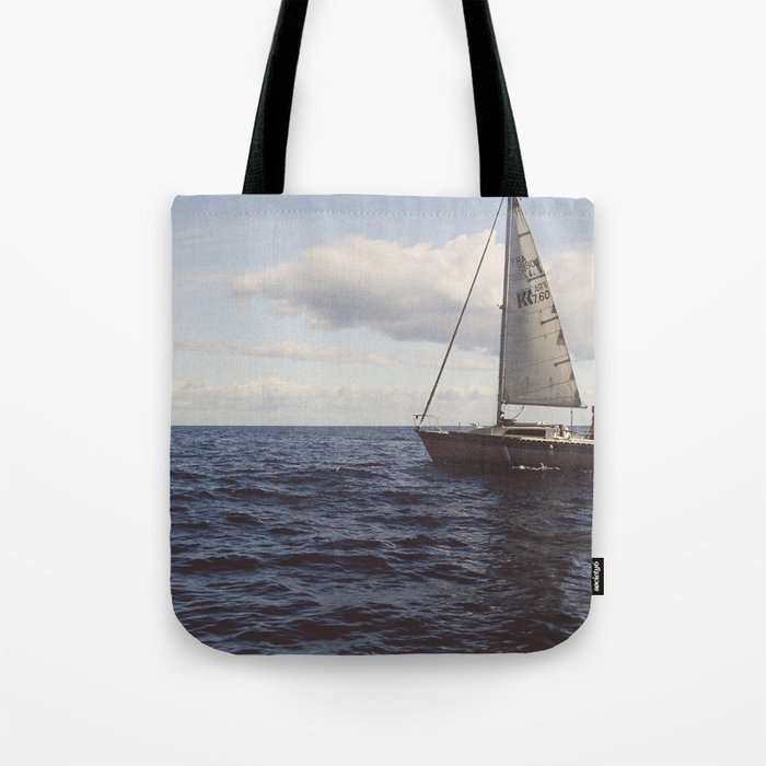 Boat Ocean Sailing Sea Water Clouds Photography Tote Bag By Photo