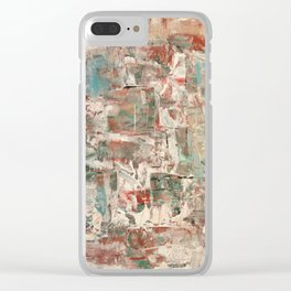 Misty pop: Abstract Acrylic Painting with peachy soft colors Clear iPhone Case