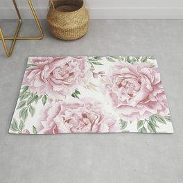 Pretty Pink Roses Flower Garden Rug