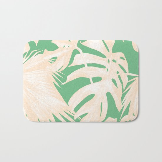 Tropical Coral Green Palm Leaf Pattern Bath Mat